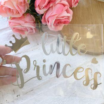 """Надпись """"Little Princess"""", цвет Silver metallic"""