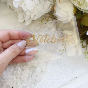 "Надпись ""Notebook"", цвет Old Gold глиттер"