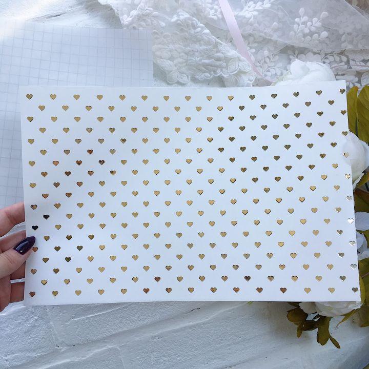 Виниловый  фон/ сердце 20*30 см, золотой глянец