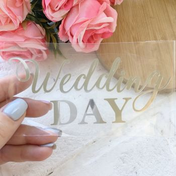 "Надпись ""Wedding day"", цвет Silver metallic"