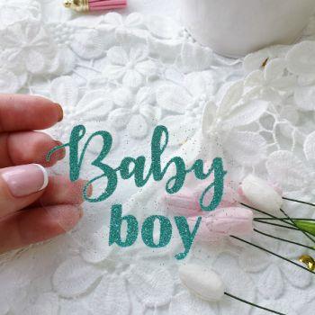 """Надпись из термопленки """"Baby boy"""", цвет Nephritis"""