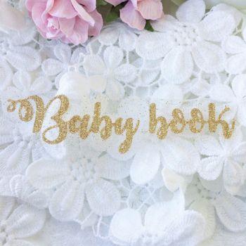 """Надпись из термопленки """"Baby book"""", цвет Old Gold"""