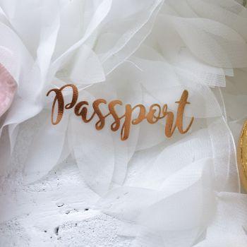 """Надпись из термопленки """"Passport"""" 2 , цвет  Gold Foil metallic"""