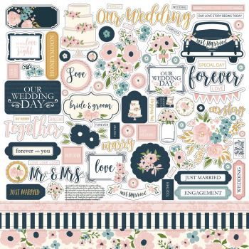 Наклейки Just Married Cardstock Stickers  30*30 см