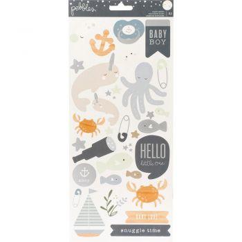 Наклейки Night Baby Boy Cardstock Stickers  (silver foil)