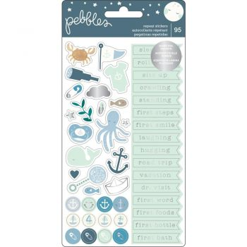 Наклейки Night Baby Boy Repeat Stickers (silver foil)