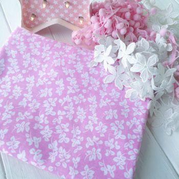 """Хлопковая ткань """"Веточки"""". Цвет розовый"""