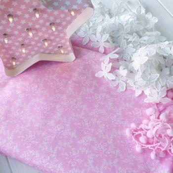 """Хлопковая ткань """"Розы"""". Цвет розовый"""