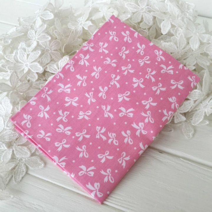 """Хлопковая ткань """"Бантики"""". Цвет розовый"""