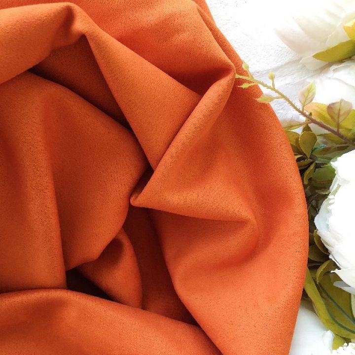 Искусственная замша стрейч, цвет морковный 30*25 см
