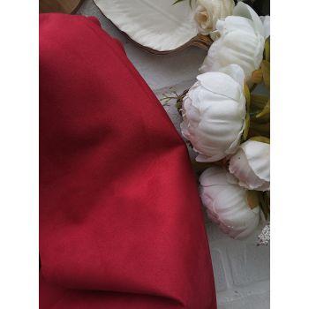 Искусственная замша стрейч на трикотажной основе, цвет красный 25*30