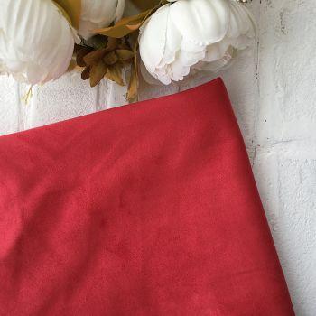 Искусственная замша стрейч двухсторонняя, цвет красный 25*30 см