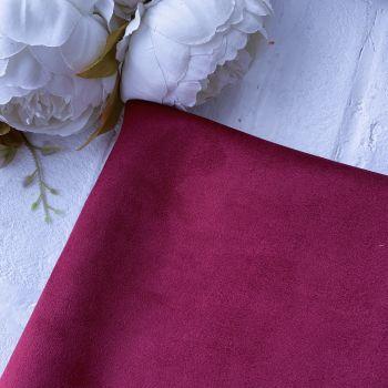 Искусственная замша стрейч на трикотажной основе, цвет бордово-фиолетовый 25*30