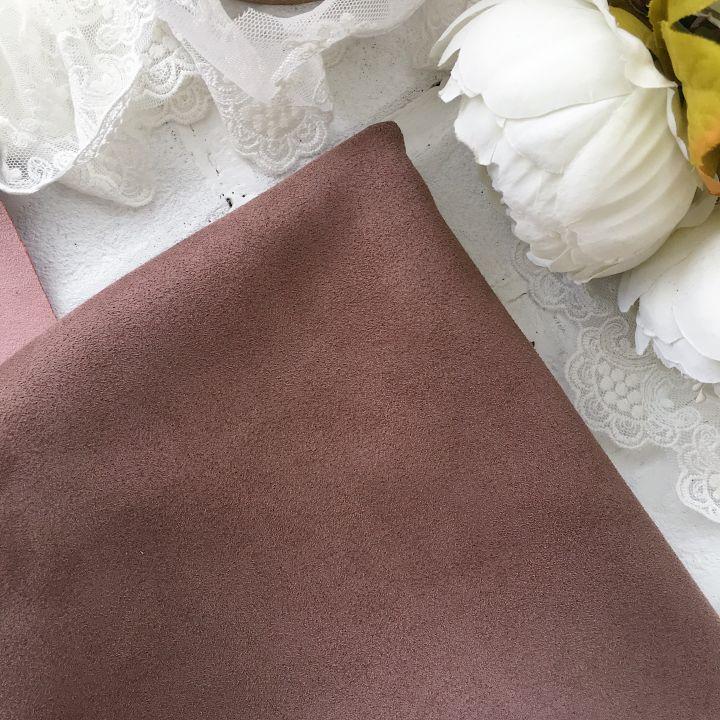 Искусственная замша стрейч на трикотажной основе, цвет бежево-коричневый 30*25