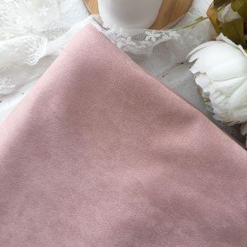 Искусственная замша стрейч на трикотажной основе, цвет бледно-розовый 25*30