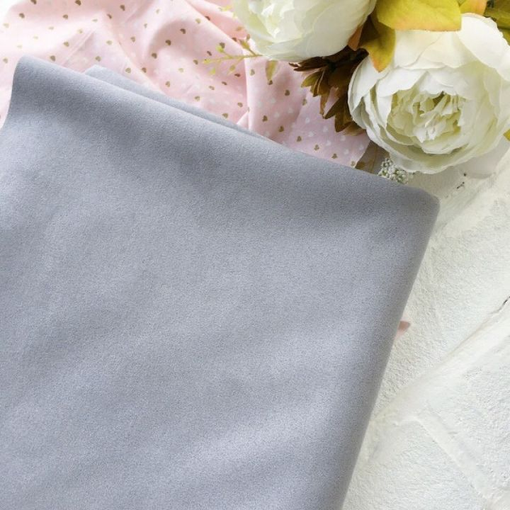 Искусственная замша стрейч, цвет светло-серый 30*25 см